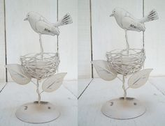 Pair of White Metal Shabby Bird Nest Tealight, Tea Light Candle Holders Holder