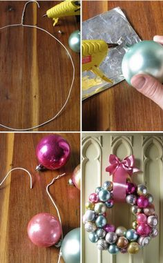 Leftover ornaments - great way to reuse them! How to make a wreath. Reuse old christmas decorations or buy from thrift shop