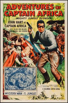 """Movie Posters:Serial, Adventures of Captain Africa (Columbia, 1955). One Sheet (27"""" X41"""") Chapter 1 --""""Mystery Man of the Jungle!"""" Serial.. ..."""