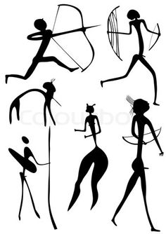 Archer and other figures - vector. Primitive figures looks like cave painting - primitive art - warriors. Arte Tribal, Tribal Art, Ancient Tattoo, Paleolithic Art, Cave Drawings, Africa Art, Alien Art, Art Icon, Art Lessons Elementary