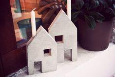DIY - Kleine Kerzenständer-Häuschen aus Beton
