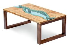 """river coffee table Tables: Coffee Table by Greg Klassen Furniture Maker, available in glass, wood: A vibrant """"river"""" of blue glass intersects two quilted western maple slabs to create a stunning coffee table. Available in custom sizes and woods. Inexpensive Furniture, Cheap Furniture, Wooden Furniture, Furniture Design, Furniture Stores, Japan Design, Table Legs, Glass Table, Home Furnishings"""