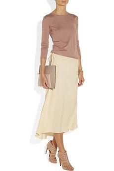 Drawstring silk-crepe midi skirt by Vanessa Bruno