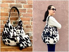 Faux Cowhide Oversize Hobo bag with vegan black leather strap, Extra Large Cowhide shoulder bag,Cowhide bag, Cowhide Purse, cowhide Handbag Cowhide Fabric, Cowhide Purse, Cowhide Leather, Brown Leather Backpack, Leather Shoulder Bag, Large Shoulder Bags, Hobo Bag, Purses And Bags, Eco Friendly