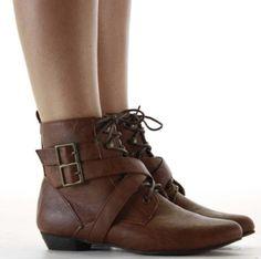 Ladies Flat Low Heel Pixie Vintage Retro Style Winter Lace Up Ankle Boots Size with shoeFashionista Boutique bag: Amazon.co.uk: Shoes & Bags...