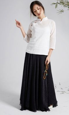 2e0653bfee7 Long multi-layered chiffon maxi skirts with elastic waist available in black  and white Modest