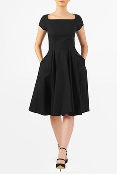 I <3 this Wide neck stretch poplin dress from eShakti