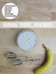 Banana yogurt protein hair mask