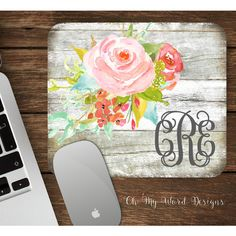 Watercolor Floral and Distressed Wood Monogrammed Mouse Pad-Monogram... ($14) ❤ liked on Polyvore featuring home, home decor, office accessories, grey, home & living, office, office & school supplies, mouse pad, personalized mouse pads and monogram mouse pad