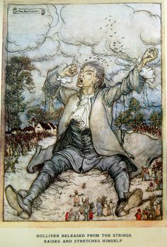 Arthur Rackham - Gulliver's Travels by Jonathan Swift (1900, reworked edition with colour plates 1909) Gulliver released from the strings raises and stretches himself (2 of 17)