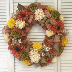 Large Burlap Fall Wreath, Burlap Wreath with Fall Decor, Autumn Wreath, Fall Floral Door Decor - pinned by pin4etsy.com