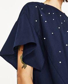 I POPLIN MED PERLER fra Zara