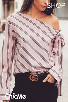Stripes Skew Neck Knotted Sleeve Blouse Women's Online Shopping Offering Huge Discounts on Dresses, Lingerie , Jumpsuits , Swimwear, Tops and More. Trend Fashion, Look Fashion, Feminine Fashion, Spring Fashion, Trendy Outfits, Fashion Outfits, Fashion Tips, Fashion Websites, Summer Outfits