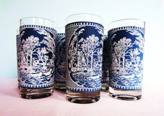Vintage Blue Glasses - Currier and Ives Blue Glassware - Royal China Company - Set of 10 Tumblers