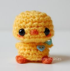 Kawaii Baby Chick  Yellow with Blue Bow by twistyfishies on Etsy, $14.00