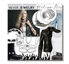 """Silver Rock"" by think-about-it ❤ liked on Polyvore featuring rag & bone, Yves Saint Laurent, American Vintage, The Limited, Twist & Tango, Love Moschino, Juicy Couture, Tiffany Kunz, Bling Jewelry and silverjewelry"