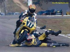 Racing crash picture, motorcycle rider accident