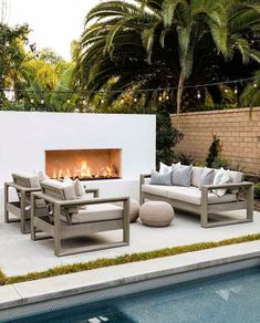 A Mediterranean Inspired Design Have you ever really thought about how many people see the outside of your home? Backyard Furniture, Backyard Patio, Backyard Landscaping, Backyard Seating, Outdoor Furniture, Patio Design, Exterior Design, Outdoor Rooms, Outdoor Decor