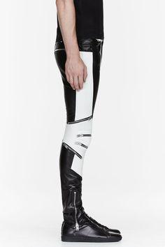 SAINT LAURENT Black & white ribbed zipped biker pants