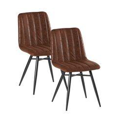 Lot de 2 Chaises en tissu marron havane et pieds métal évasés 45x54x88cm  KERALA - Infos abdcc73ec31