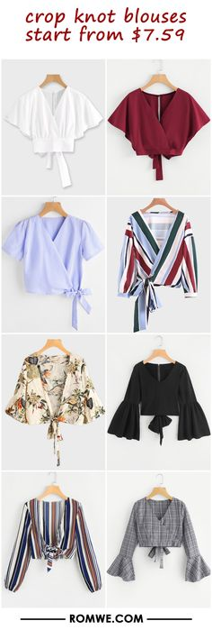 crop knot blouses from $7.59 Girls Fashion Clothes, Teen Fashion Outfits, Girl Fashion, Fashion Dresses, Clothes For Women, Crop Top Outfits, Cute Casual Outfits, Indian Blouse Designs, Sleeves Designs For Dresses