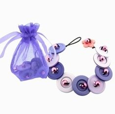 One of our new kids jewellery making kits. An organza pouch with all the materials to create this purple button bracelet. kid-s-jewellery-making-ideas beauty