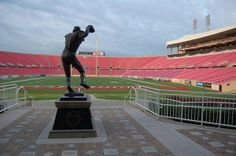 This statue of former UofL quarterback Johnny Unitas stands at the entrance to Papa Johns Cardinal Stadium.
