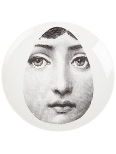 Shop Fornasetti Plate In Grey from stores. White china plate from Fornasetti featuring a contrasting grey woman's face print design within an oval shape. Piero Fornasetti, China Plates, Everyday Objects, Eclectic Style, Woman Face, Paper Art, Print Design, Cool Art, Drawings