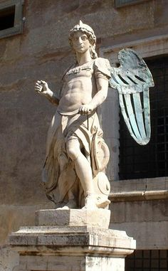 """Angel by Rafaello da Montelupo that used to stand at the top of Castel Sant'Angelo, now in the """"Angel Hall."""""""