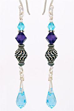 Amethyst, aquamarine & sterling earrings.