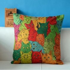 British-Cat-Style-Cotton-Linen-Throw-Sofa-Decor-Pillow-Case-Cushion-Cover