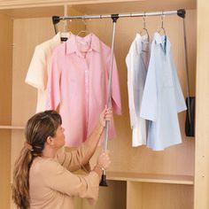 Rev-A-Shelf Pull-Down Chrome Closet Rods | KitchenSource.com #kitchensource #pinterest #followerfind