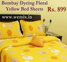 yellow bedsheet Bombay Dyeing Floral Yellow Bed Sheets Rs. 899