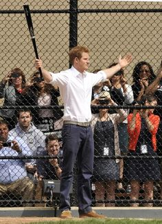 Prince Harry Gets His Game On, playing some baseball while in the US