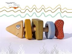 Wooden Rattle - Puzzle, eco friendly natural toy a Fish