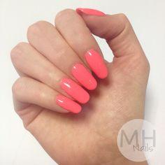 Bright coral pink neon nail art