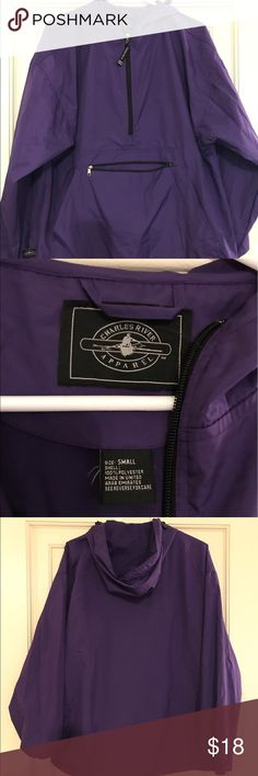 Lightweight purple anorak hooded rain jacket Lightweight purple anorak hooded rain jacket, front sipper pocket and pouch, drawstring waist for adjustments. Size small but very roomy so would say s/m. Like new condition. charles river Jackets & Coats