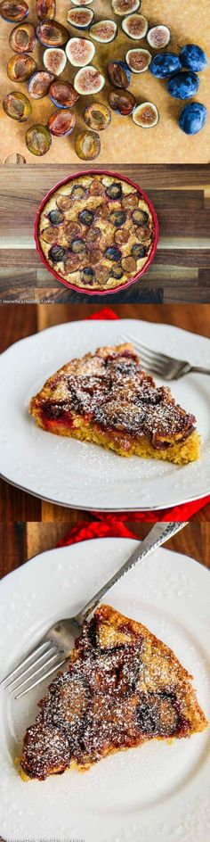 Fig Plum Orange Torte - this fruit topped cake is made with whole wheat pastry…