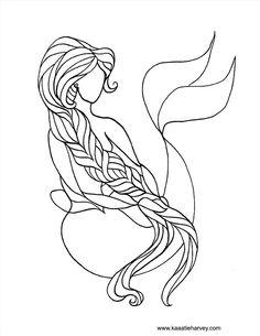 mermaid coloring book page by katie harvey freeprintable