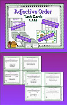 $Is there a more versatile practice and review tool than task cards? This set is a great resource for understanding the order of adjectives. The printable pack includes two teaching posters, 32 task cards, a student answer sheet, answer key and a bonus game board template.