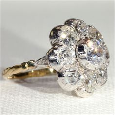 Antique Victorian Diamond 5ctw Cluster Ring in 18k Gold and Silver