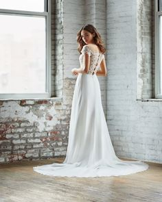 Style 7857 Adeline Ti Adora by Allison Webb bridal gown - Ivory / Nude lace and chiffon a-line bridal gown. Embroidered lace illusion bodice with sheer back. A Line Bridal Gowns, Wedding Gowns, Wedding Bride, Blush Bridal, White Gowns, Embroidered Lace, Bridal Boutique, New Dress, Illusion