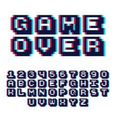 View Vector Art of Pixel Video Game 8 Bit Font Poster Typeface With Shadow Effect. Pixel Font, 3d Pixel, Video Game Font, Pixel Art Anime, Poster Fonts, 3d Poster, 8bit Art, Art Disney, Minecraft Pixel Art