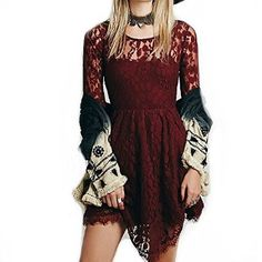 $24.99 Half Sleeve Sexy Lace Splicing Hollow Out Dresses Irregular Skirt