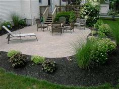 Landscaping around patio - size and shape I'm leaning towards.