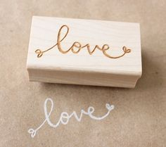 love wooden rubber stamp