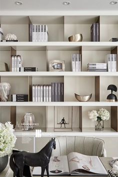 Shelves and Book Cases Shelving Design, Shelf Design, Cabinet Design, Interior Design Living Room, Modern Interior, Interior Architecture, Estilo Interior, Interior Styling, Office Interiors