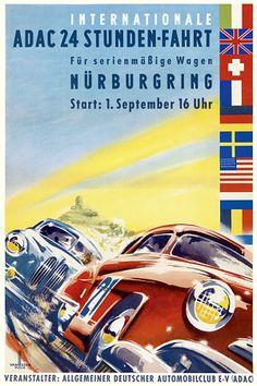 International 24 Hour Auto Rally. Germany   c.1950s  http://www.vintagevenus.com.au/vintage/reprints/info/TR359.htm