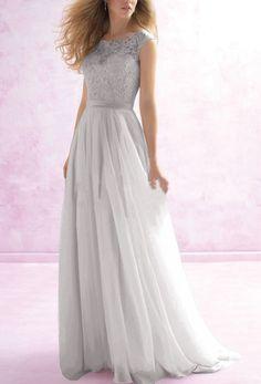 Pure Color Splicing Lace Chiffon Long Evening Dress