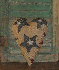 Primitive Americana Burlap Pillow by PrairiePrimitives, $13.00